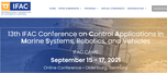 Control Applications in Marine Systems, Robotics, and Vehicles - 13th CAMS 2021™